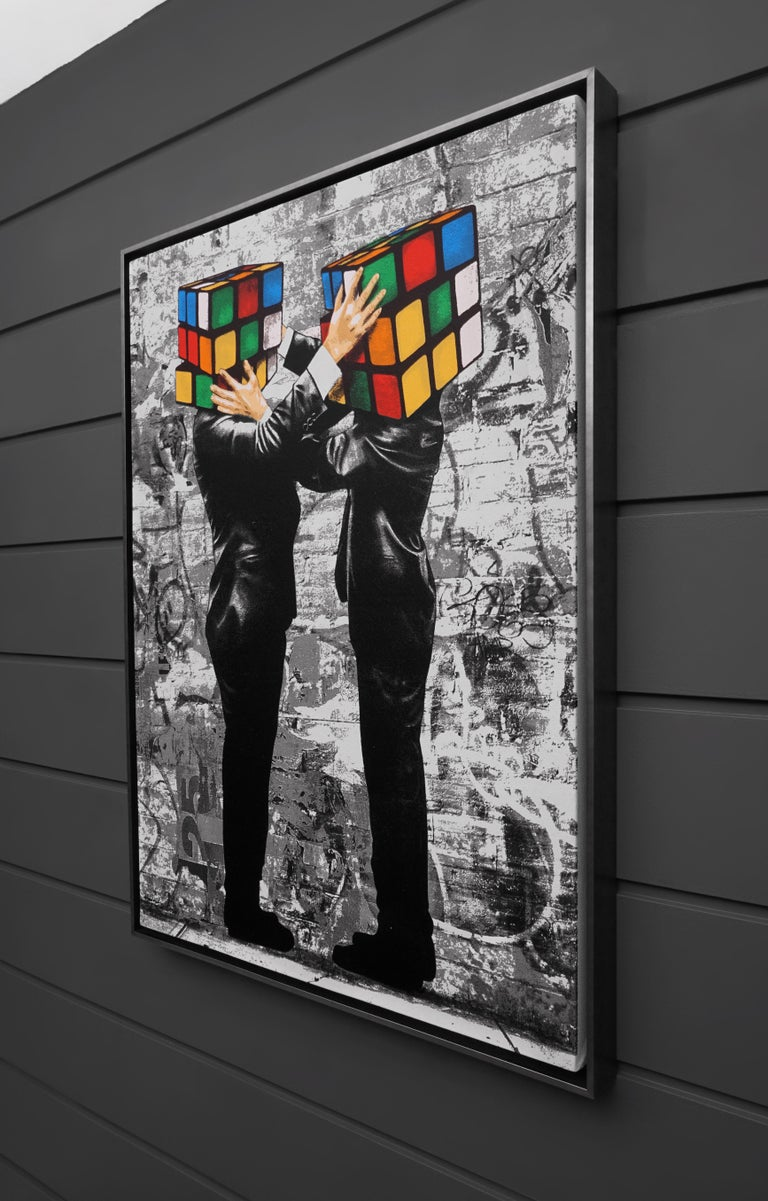 The 'Puzzled' I by Hijack is a silkscreen and mixed media painting on canvas, created in 2020. Signed by the Artist, this work possesses striking subject matter and the street-style flair Hijack has become well-known for. 'Puzzled I' comes in