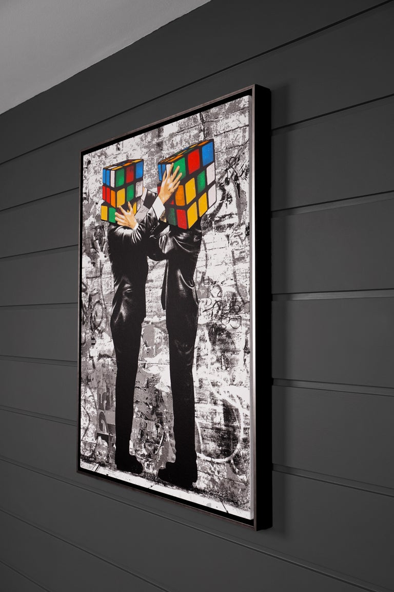 'Puzzled I' by Hijack is a silkscreen and mixed media painting on canvas, created in 2020. Signed by the Artist, this work possesses striking subject matter and the street-style flair Hijack has become well-known for. 'Puzzled I' comes in metallic
