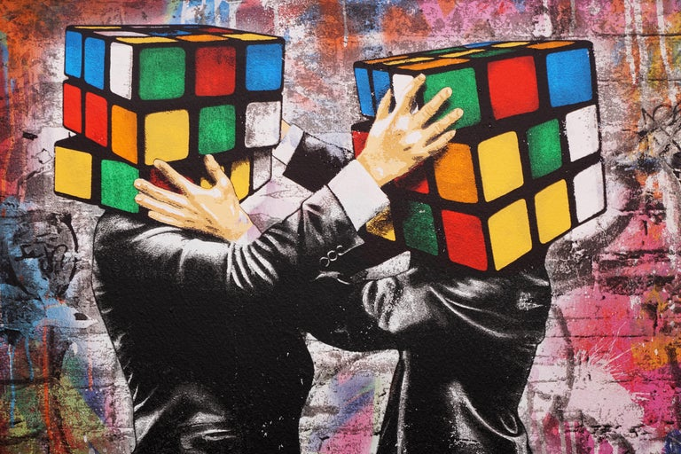 The 'Puzzled II' by Hijack is a silkscreen and mixed media work on canvas, created in 2020. Signed by the Artist, this work possesses the striking subject matter and street-style flair Hijack has become well-known for. The 'Puzzled' II comes in a