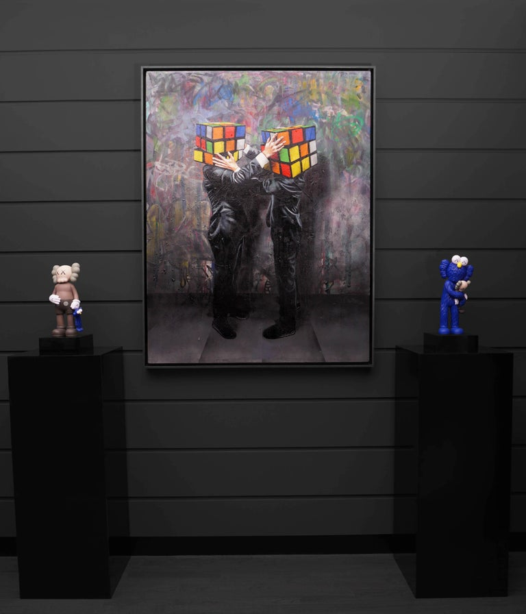 Hijack, Puzzled (Unique), 2019 - Black Figurative Painting by Hijack
