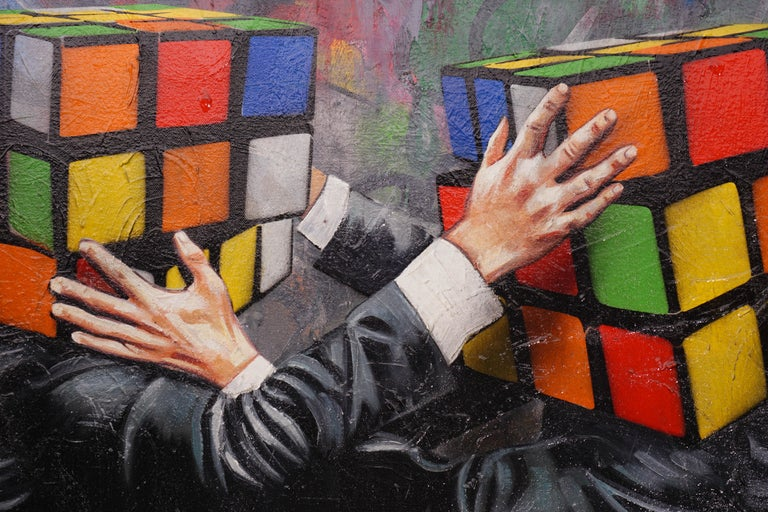 'Puzzled' by Hijack is a unique oil painting on canvas, created in 2018. Signed by the Artist on the lower front and on verso, this original work possesses incredible visual depth and striking subject matter. 'Puzzled' comes in a thin brushed steel