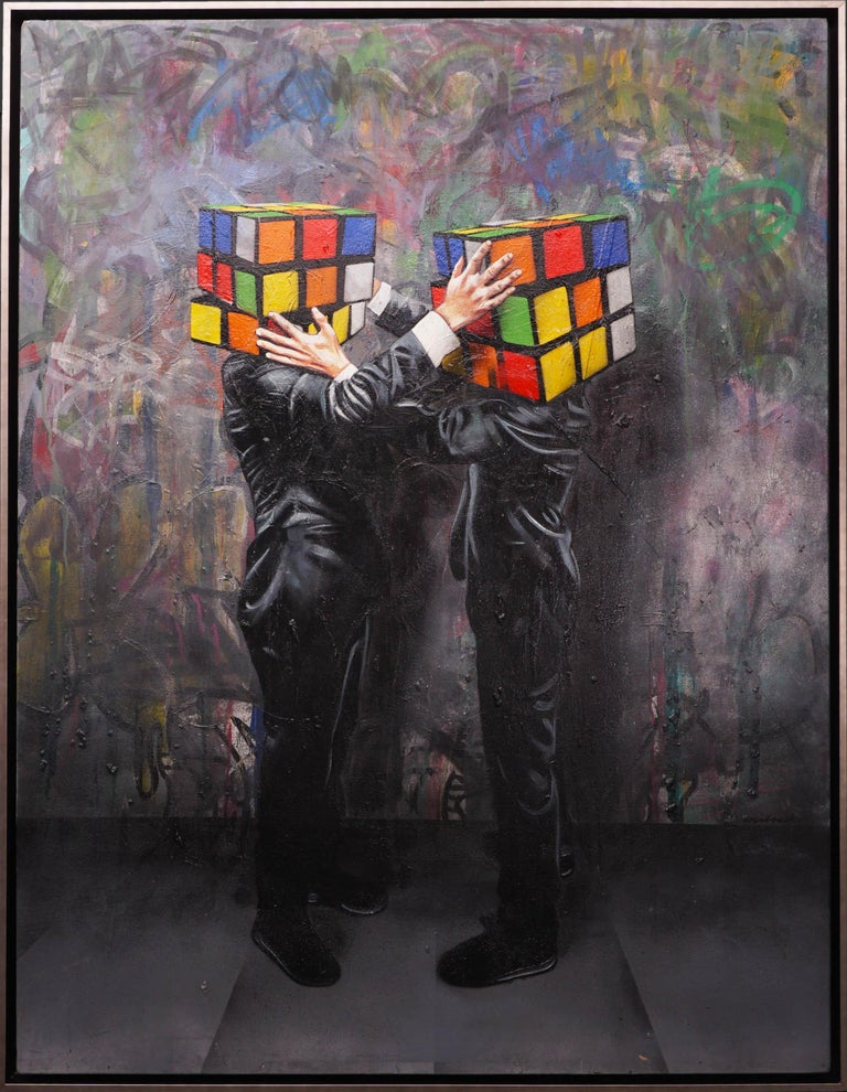 Hijack, Puzzled (Unique), 2018 - Painting by Hijack