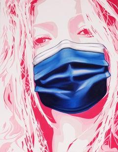 'Kate Moss Mask' Street Pop Art Painting, Unique, 2020