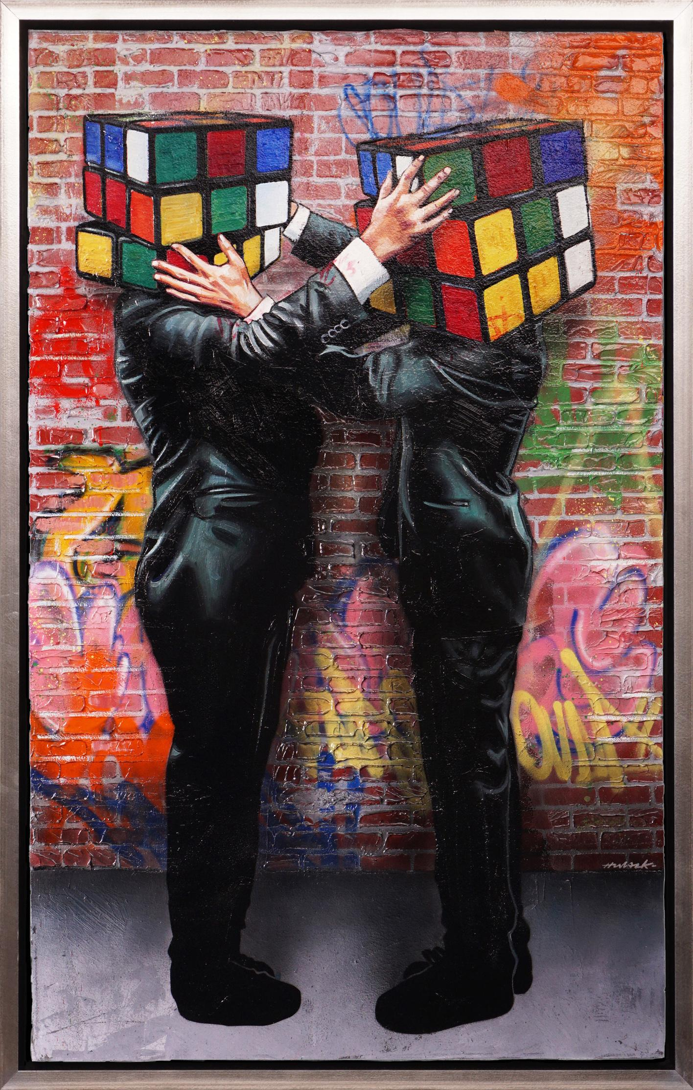 'Puzzled with Graffiti' Street Pop Art Painting on Canvas, Unique, 2021