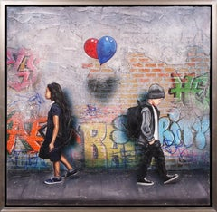 'Static Love' Street Art, Painting on Canvas, Unique, 2021