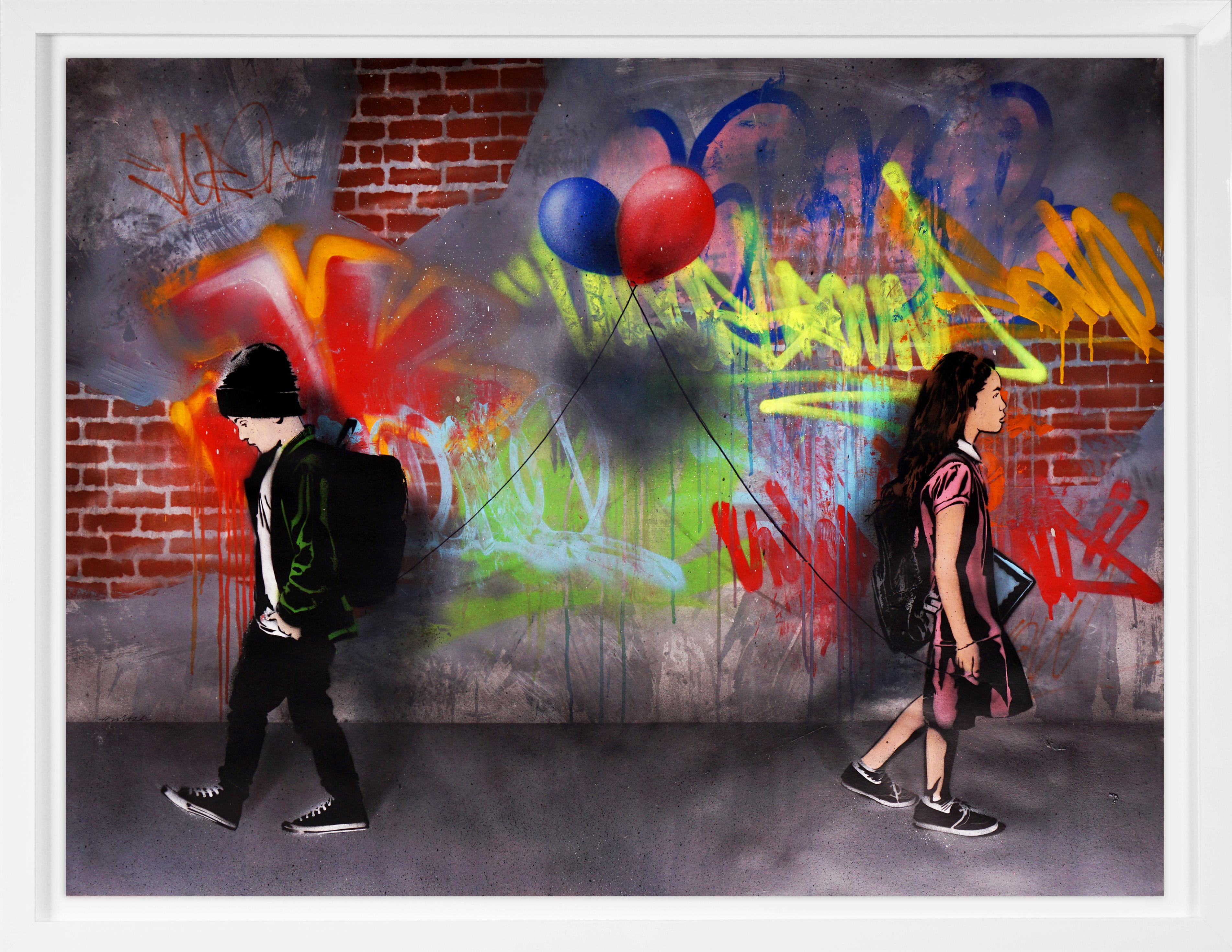 'Static Love with Balloons' Graffiti Street Art Painting, Unique, 2021