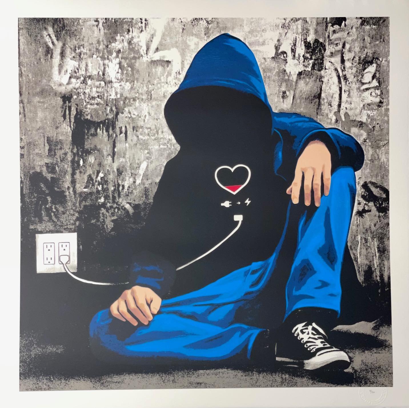 "Hijack Social Media Junkie Screen Print Mr. Brainwash Son Art Print ""Unplugged"""