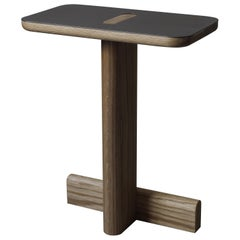 """Hiko Side Table """"Linen Edition"""" in White Oak Oil Finish with Natural Steel"""