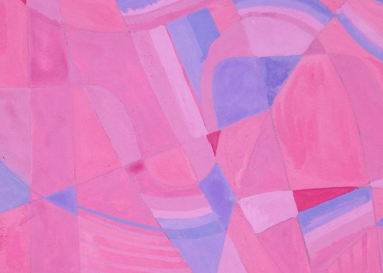 Hilaire Hiler (1898-1966) original vintage 1960 abstract painting (structuralism), mid-20th century New Mexico artist, signed lower right and painted in tones of pink and blue.  Framed dimensions measure 15 ½ x 18 ¾ inches. Image size is 14 x 17 ½