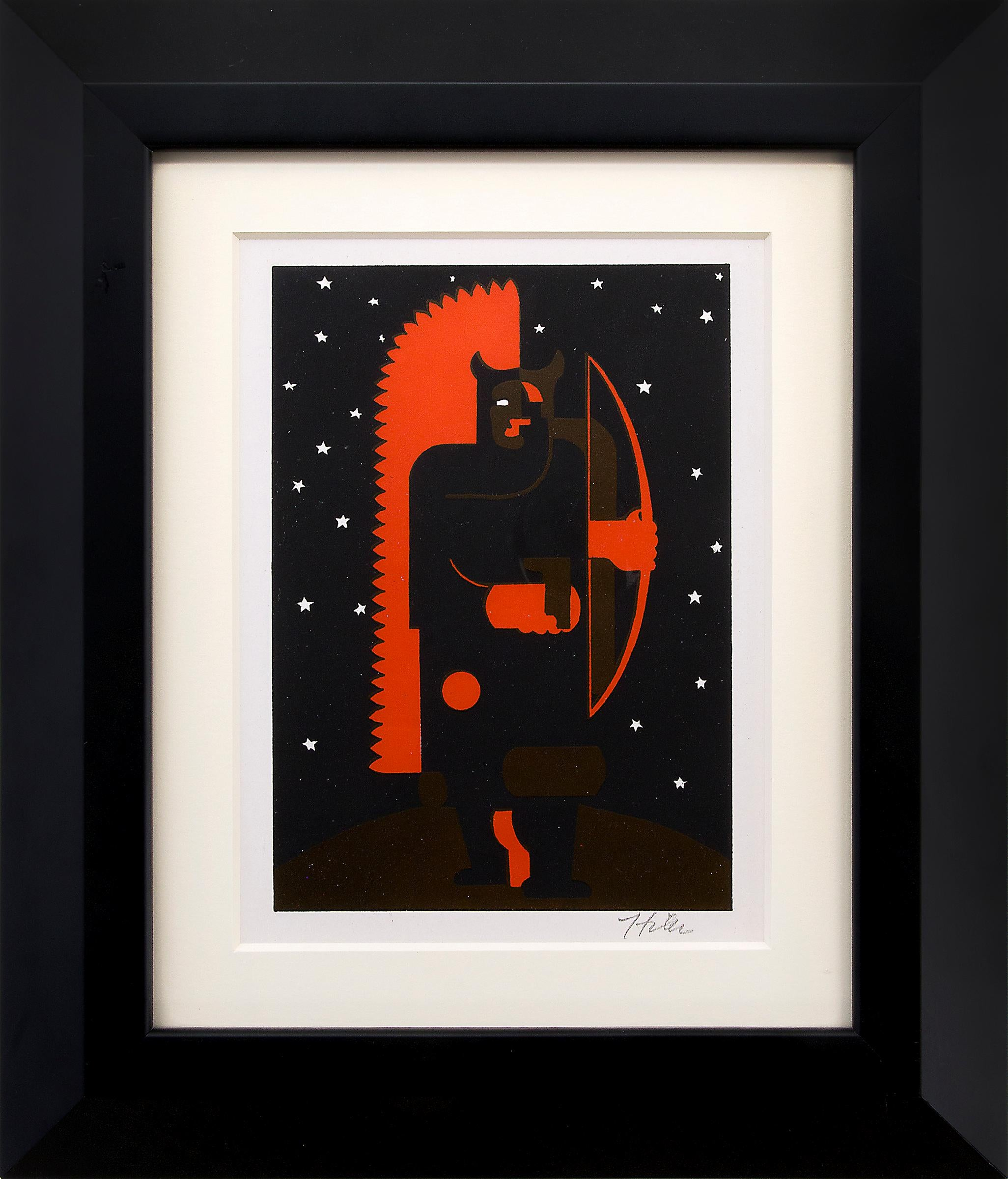 Indian with Bow in Fox Costume (1930s Modernist Print in Red, Black & White)