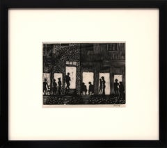 Night Life, Paris, France, Vintage 1928 Signed Black & White Woodcut/Woodblock