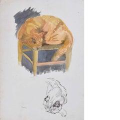 Hilary Hennes, Cat Sleeping (c.1940), painting Modern British Art Hilary Miller