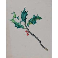 Hilary Hennes, Holly gouache painting (c.1940) Modern British Art Hilary Miller