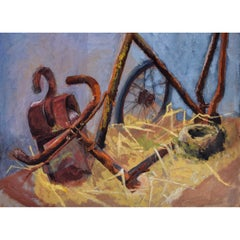 Hilary Hennes Miller 'The Old Bicycle' Gouache Painting c1940 Modern British Art