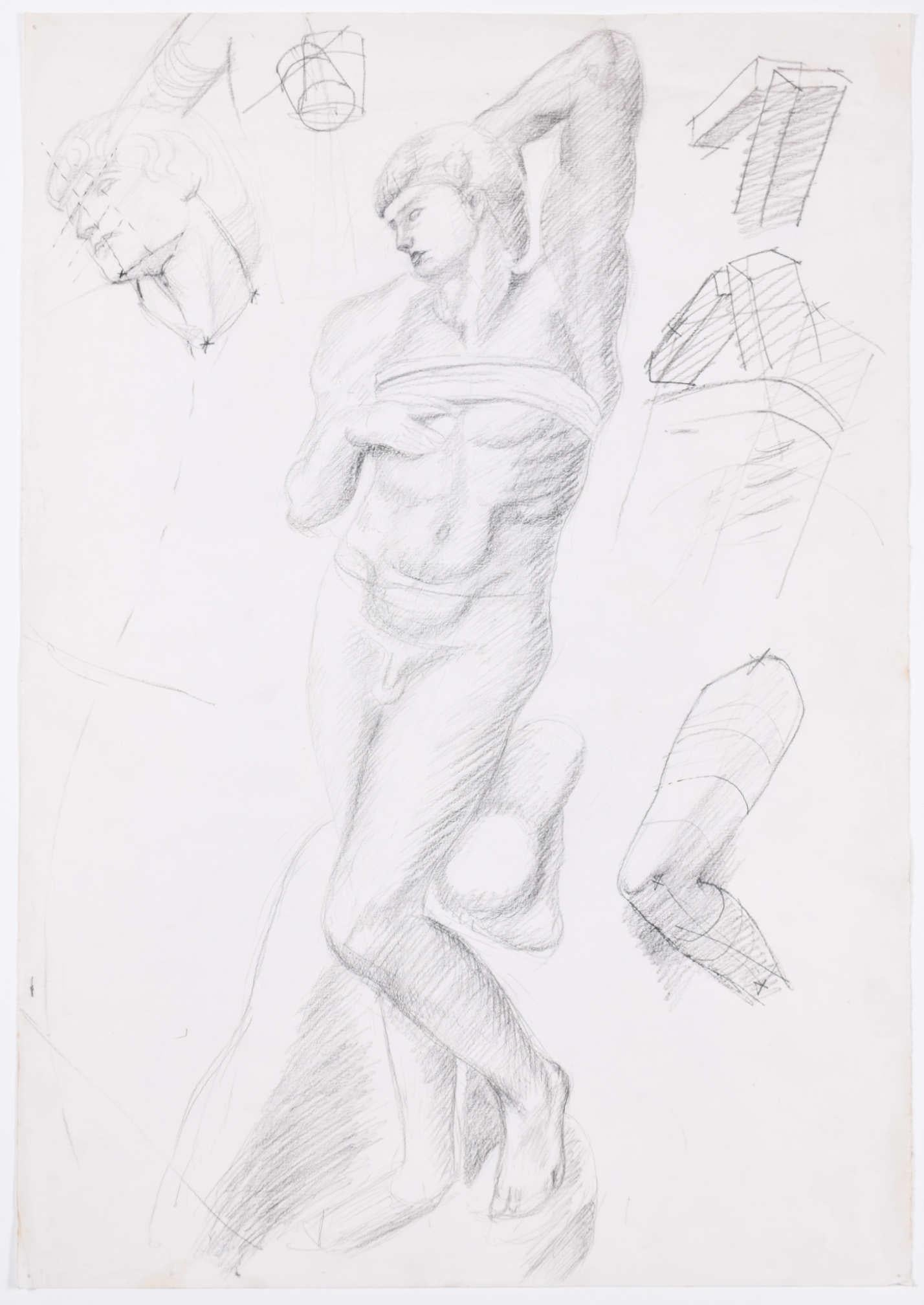 Sketches of a figure: Hilary Hennes Miller c.1940 English Modern British Art