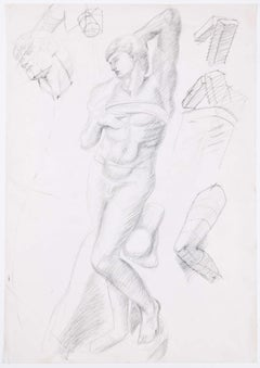 Sketches of a figure: Hilary Hennes Miller c.1940 English Modern British Art