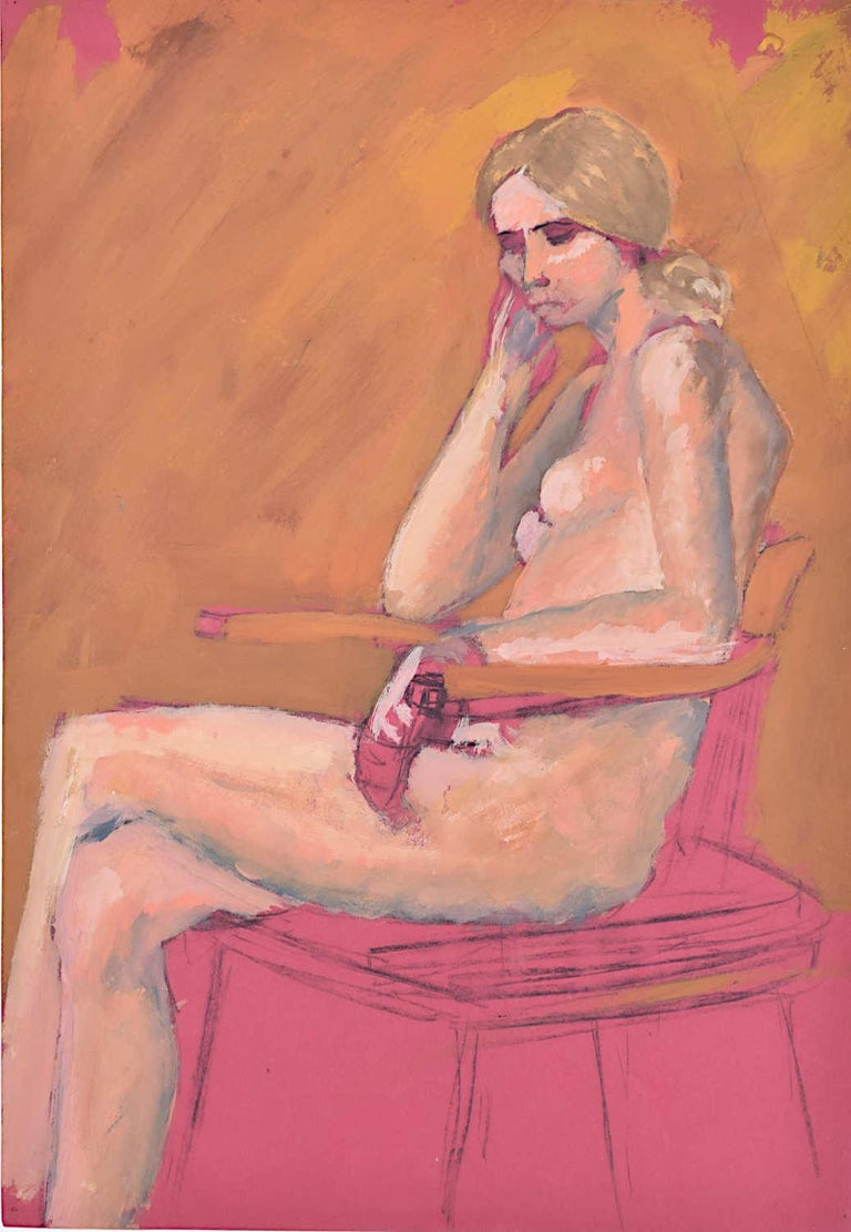 Woman sitting: Hilary Hennes Miller c.1940 English Modern British Art - Painting by Hilary Hennes