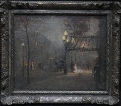 Leaving the Theatre - British Impressionist nocturne oil painting female artist.