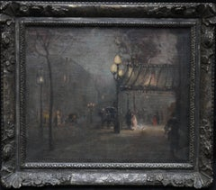 Leaving the Theatre - British Edwardian Art Impressionist Nocturne Oil Painting