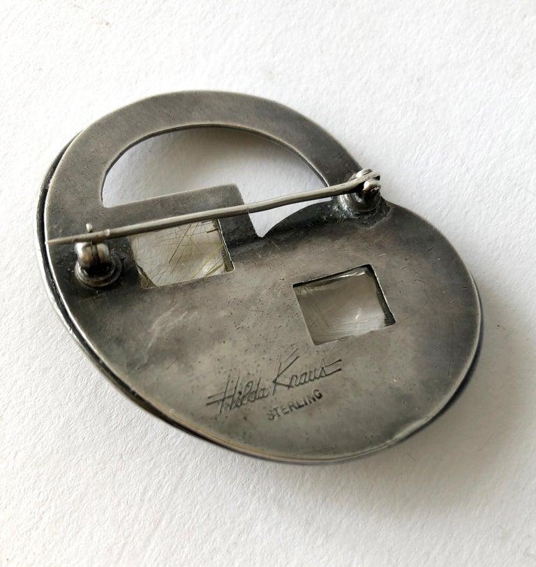 Women's Hilda Kraus Sterling Silver Rutilated Quartz Modernist Brooch For Sale