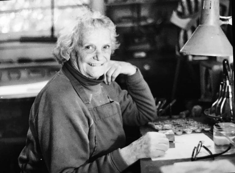 Hilda Kraus Sterling Silver Rutilated Quartz Modernist Brooch For Sale 1