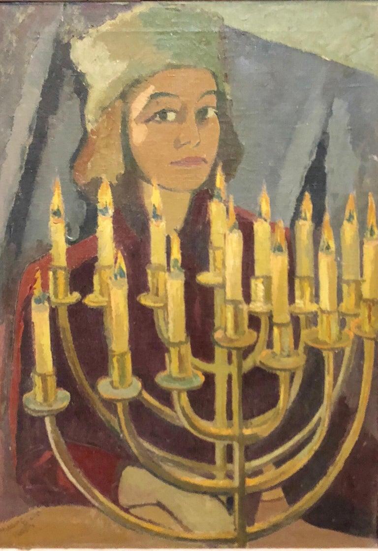 "Hildegard Rath Figurative Painting - 1950's Expressionist Judaica Painting ""I Lit All My Candles"" Hanukkah Menorah"