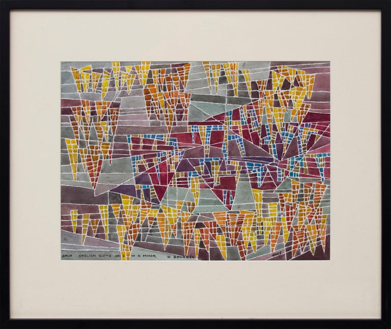 """Original vintage watercolor painting by twentieth century San Francisco woman artist, Hildegarde Haas (1926-2002).  """"Bach - English Suite No.2 in A Minor - V Bourree"""" is a non-objective abstract painting from the artist's Classical music series."""