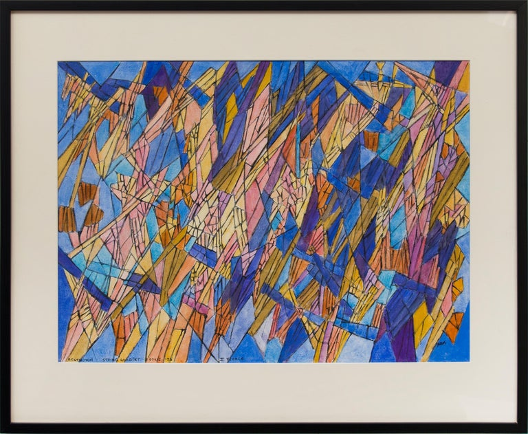 Hildegarde Haas Abstract Painting - Beethoven - String Quartet Opus 135 - II Vivace (Classical Music Series)