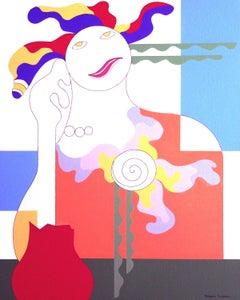 Battle, Hildegarde Handsaeme, Feminist Abstract Portrait Painting, Figurative