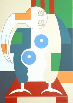 Bird Sitting on a Red Chair, Hildegarde Handsaeme, Abstract Still Life, Portrait