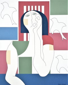Escape in Dreams, Hildegarde Handsaeme, Abstract Portrait, Geometric, Pattern
