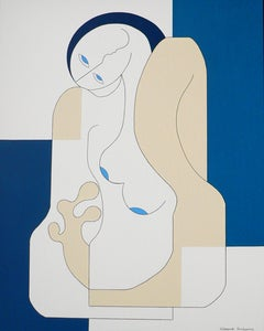 Female Blues, Contemporary Abstract Geometric Painting Canvas Blue Portrait