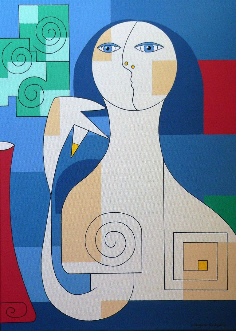 'Fiori Verdi in Vaso Rosso' by Hildegarde Handsaeme - a beautiful abstract portrait of a woman sitting next to a vase with flowers. Geometric elements, circular shapes, and lines create a structured and balanced design. With a touch of sadness on