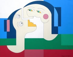 Flying Lovers, Contemporary Abstract Geometric Painting Portrait Green Blue Red