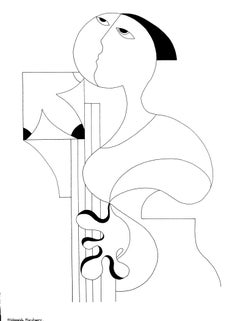 La Femme Musicale, Modern Minimalist Abstract Geometric Art Ink Drawing Portrait