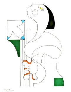 L'Artiste Musicale, Hildegarde Handsaeme, Minimalist, Ink Drawing, Cubism