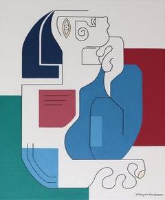 Le Philosphe, Contemporary Abstract Geometric Painting Canvas Cubism Portrait