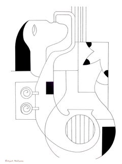 Les Lignes Musicales, Modern Abstract Geometric Portrait Ink Drawing Paper Black