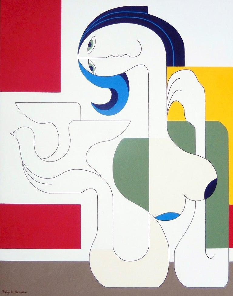 'Etude' by Hildegarde Handsaeme, acrylic on canvas, abstract  The artist paints mainly women and follows a harmonic and constructively perfect pattern. The figure in itself is dominating but the artist knows how to put it the right surroundings