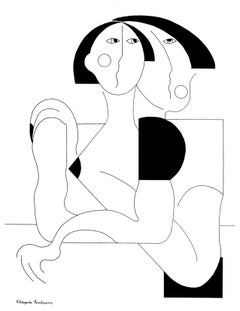 Love and Protection, Hildegarde Handsaeme, Abstract Geometric, Ink Drawing