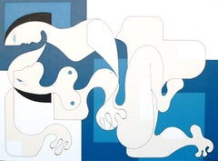 Passion, Hildegarde Handsaeme, Abstract Figurative, Blue Pattern, Romantic Duo