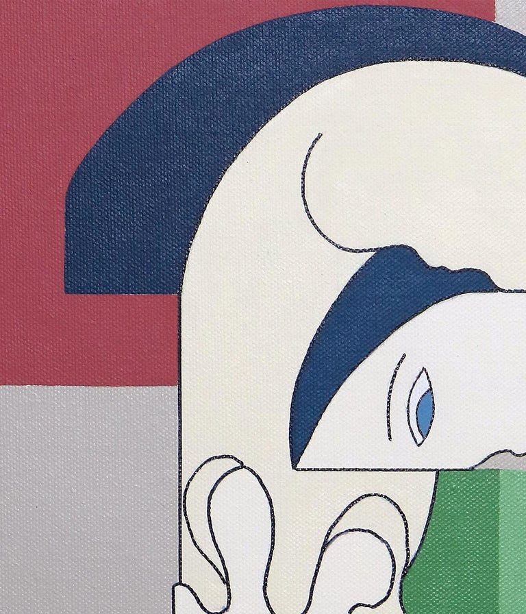 Reciproco, Contemporary Abstract Geometric Painting Canvas Cubism Portrait Green - Gray Abstract Painting by Hildegarde Handsaeme