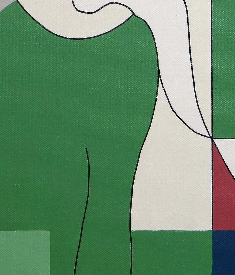 Reciproco, Contemporary Abstract Geometric Painting Canvas Cubism Portrait Green For Sale 1