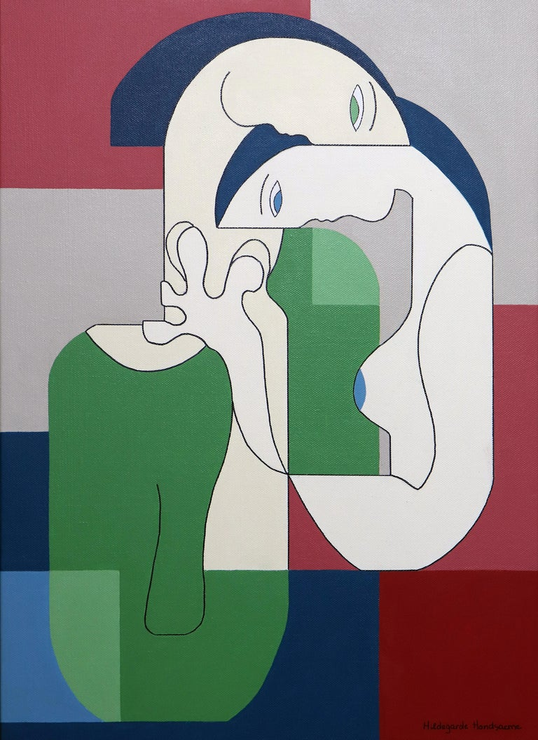 Hildegarde Handsaeme Abstract Painting - Reciproco, Contemporary Abstract Geometric Painting Canvas Cubism Portrait Green