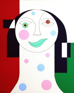 Tristesse, Modern Abstract Geometric Painting Canvas Portrait Woman Green Red