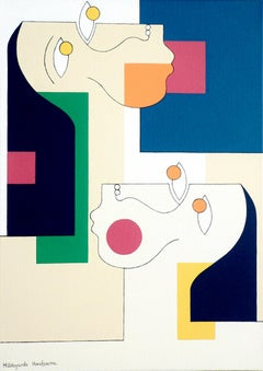 'Twins' by Hildegarde Handsaeme, abstract acrylic on canvas