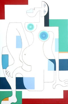 Women in Spring, Hildegarde Handsaeme, Abstract, Feminism, Colorful Portrait