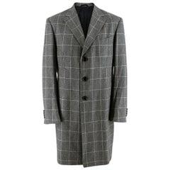 Hilditch & Key Grey Checkered Wool Coat 40R