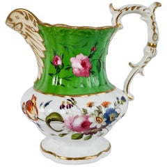 Hilditch Porcelain Pitcher, Apple Green with Hand Painted Flowers, circa 1830