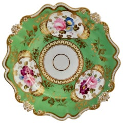 Hilditch Porcelain Plate, Green and Gilt, Daisy Moulding and Flowers, 1830-1835